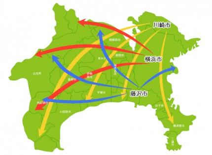 神奈川県の全体地図です。