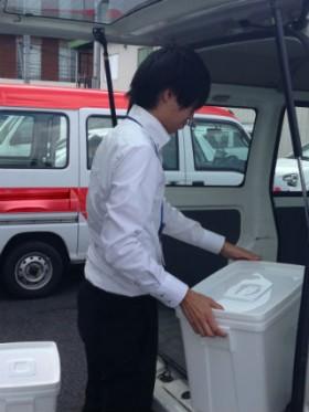 神奈川県内 検体輸送。 準備作業。