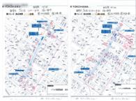 ポスティングの報告書(地図による配布ポイントのマーキング、配布数量の記入)