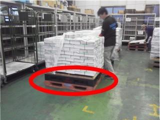 仕分けの工夫 プラスチック製パレットを活用。